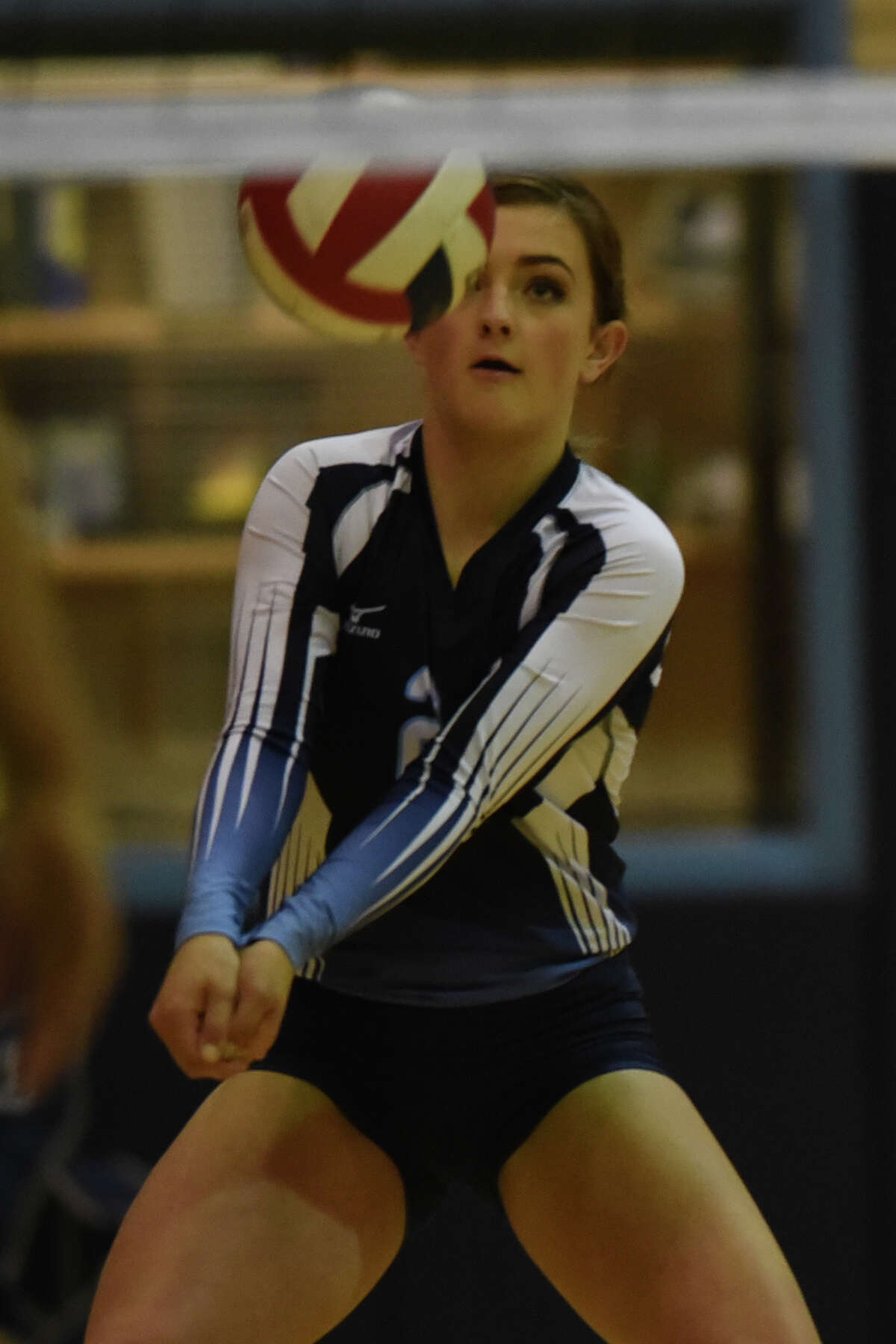 Greenwood's Caity Payne (2) takes a serve from Andrews Oct. 24, 2017, at Greenwood High School James Durbin/Reporter-Telegram