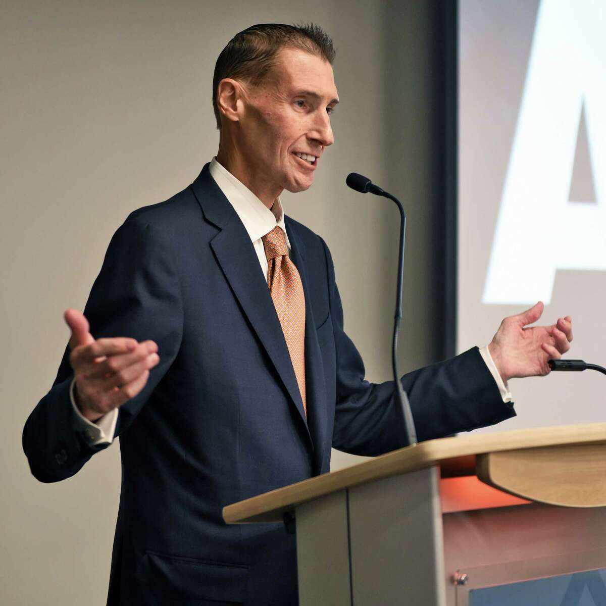 Arena Football League commissioner Scott Butera speaks during the announcement of the return of Arena Football League to Albany during a news conference at the Hearst Media Center Tuesday Oct. 24, 2017 in Colonie, NY. (John Carl D'Annibale / Times Union)