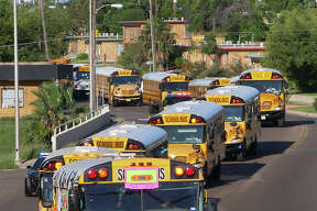School buses from LISD and UISD along with district and state law enforcement agencies participated in their annual School Bus Safety Week Parade along Clark Boulevard from Veterans Field to the UISD Student Activity Complex, Tuesday, October 24, 2017.