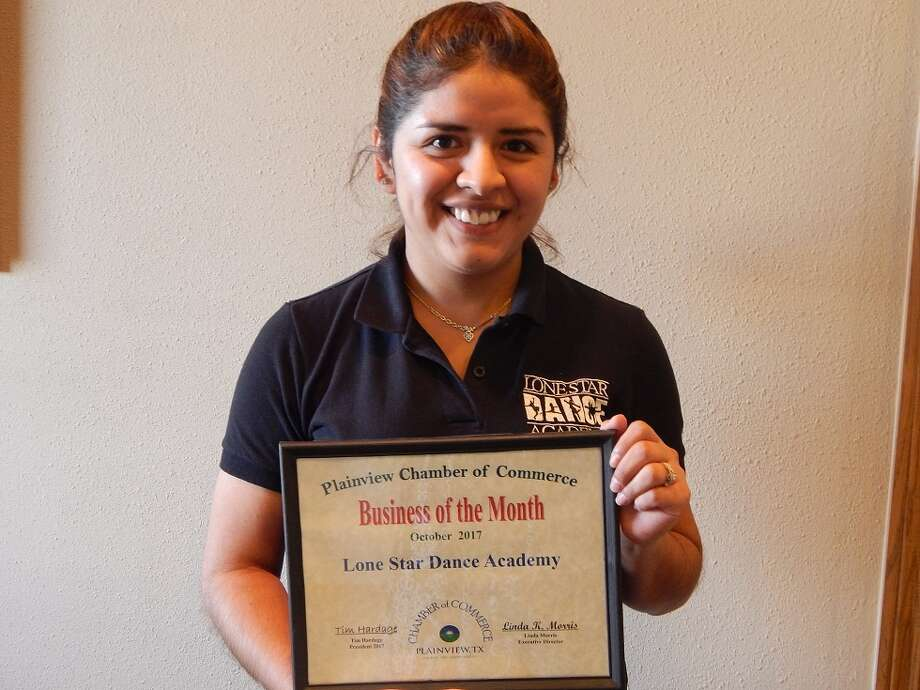 Lone Star Dance Academy, represented by Plainview Manager Dulce Riojas, is the Plainview Chamber of Commerce Business of the Month for October. The local studio is located at 607 Yonkers Lone Star Ballet is the resident ballet company of Amarillo with dance studios in Amarillo, Borger, Dumas, Hereford, Panhandle and Plainview. Its mission is to produce and promote the art of dance; and contribute to the education, culture and entertainment of Texas and the surrounding states. The Plainview Academy offers dance classes for students of all ages and technique levels in such styles as ballet, tap and jazz. Dulce Rojas began dancing at a young age. She graduated from the Booker T. Washington High School for the Performing and Visual Arts in Dallas and hold a BFA in Dance from West Texas A&M University. Call 806-288-5732 for information.