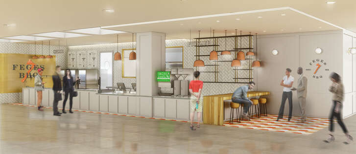 A rendering of Feges BBQ, coming to Greenway Plaza