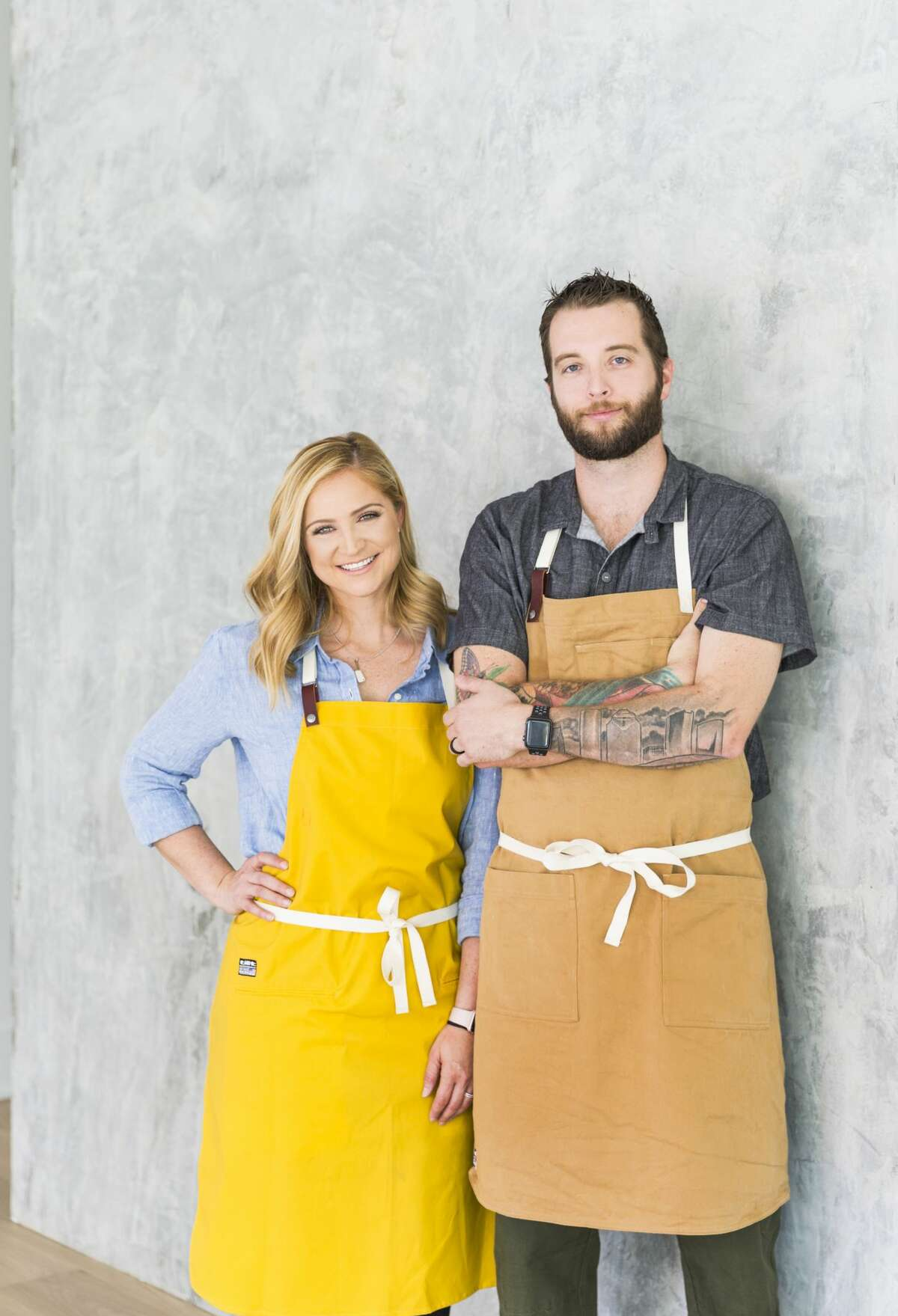 Erin Smith, left, and Patrick Feges of Feges BBQ