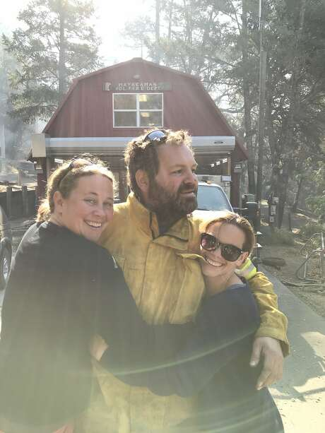 Three cousins touch base on Mount Veeder for the first time after the Nunn's Fire: Skyla Olds, from left, Jesse Apgar and Paloma Apgar. Photo: Mayacamas Olds