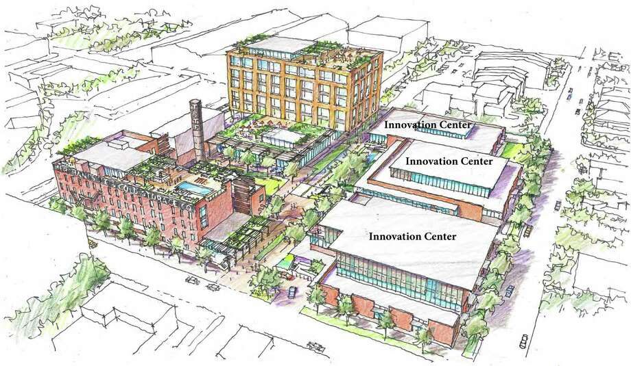 Early concept drawings of the mix-use Merchant's Ice development including VelocityTXs innovation center. The concept shows a live, work, play, create environment with a multi-building innovation center, a boutique hotel, event center, office and lab space, residential apartments and an outdoor plaza and green space, according to a news release. VelocityTX says it's planning a brand new fast track program with Brazilian partner Outsource Brazil, known as OBr, to prepare companies to go international. Photo: /Texas Research And Technology Foundation