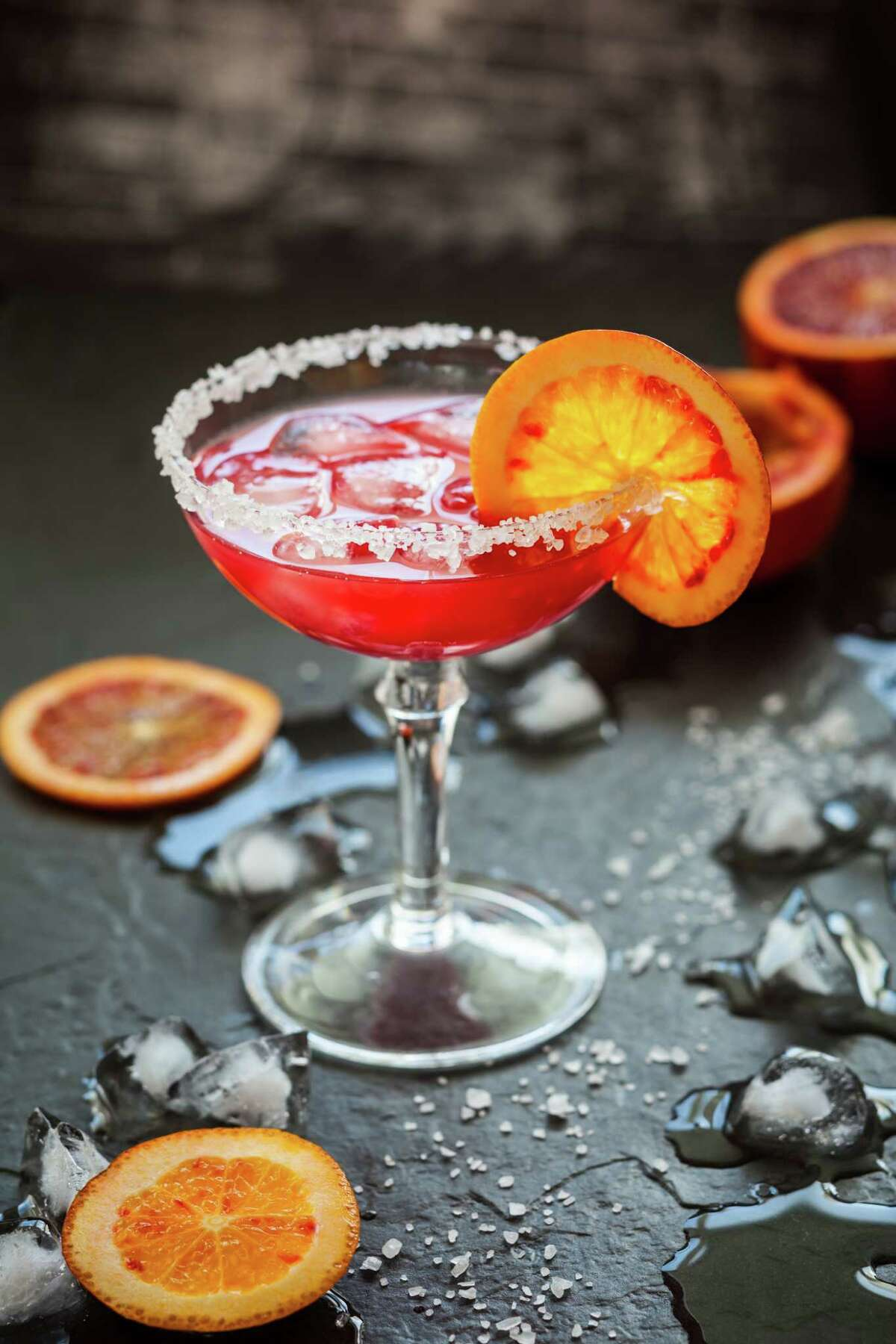 The Blood Orange Margarita is made with Corralejo Reposado Tequila.