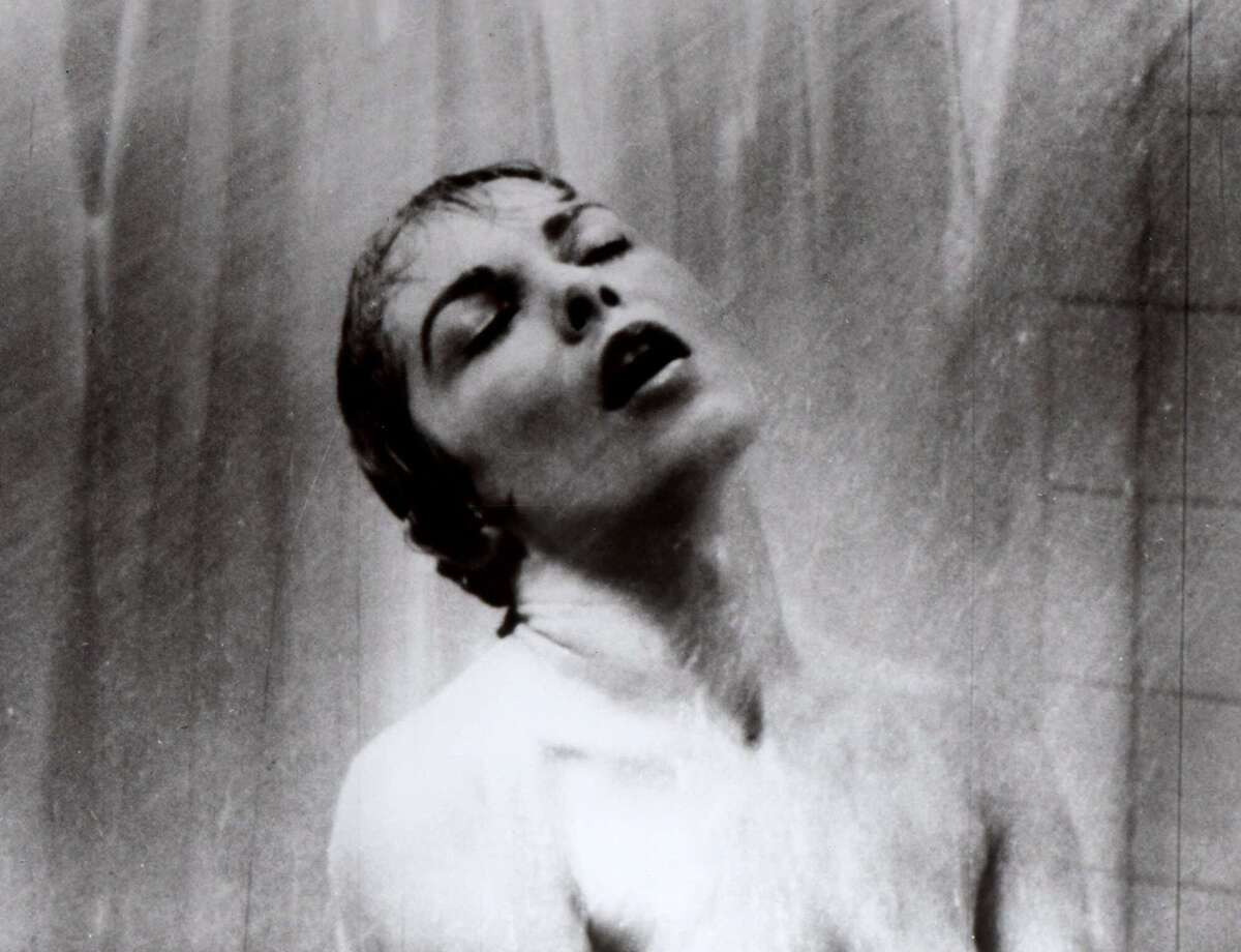 Janet Leigh appears as Marion Crane in the famous shower scene in Alfred Hitchcock's 1960 classic film thriller