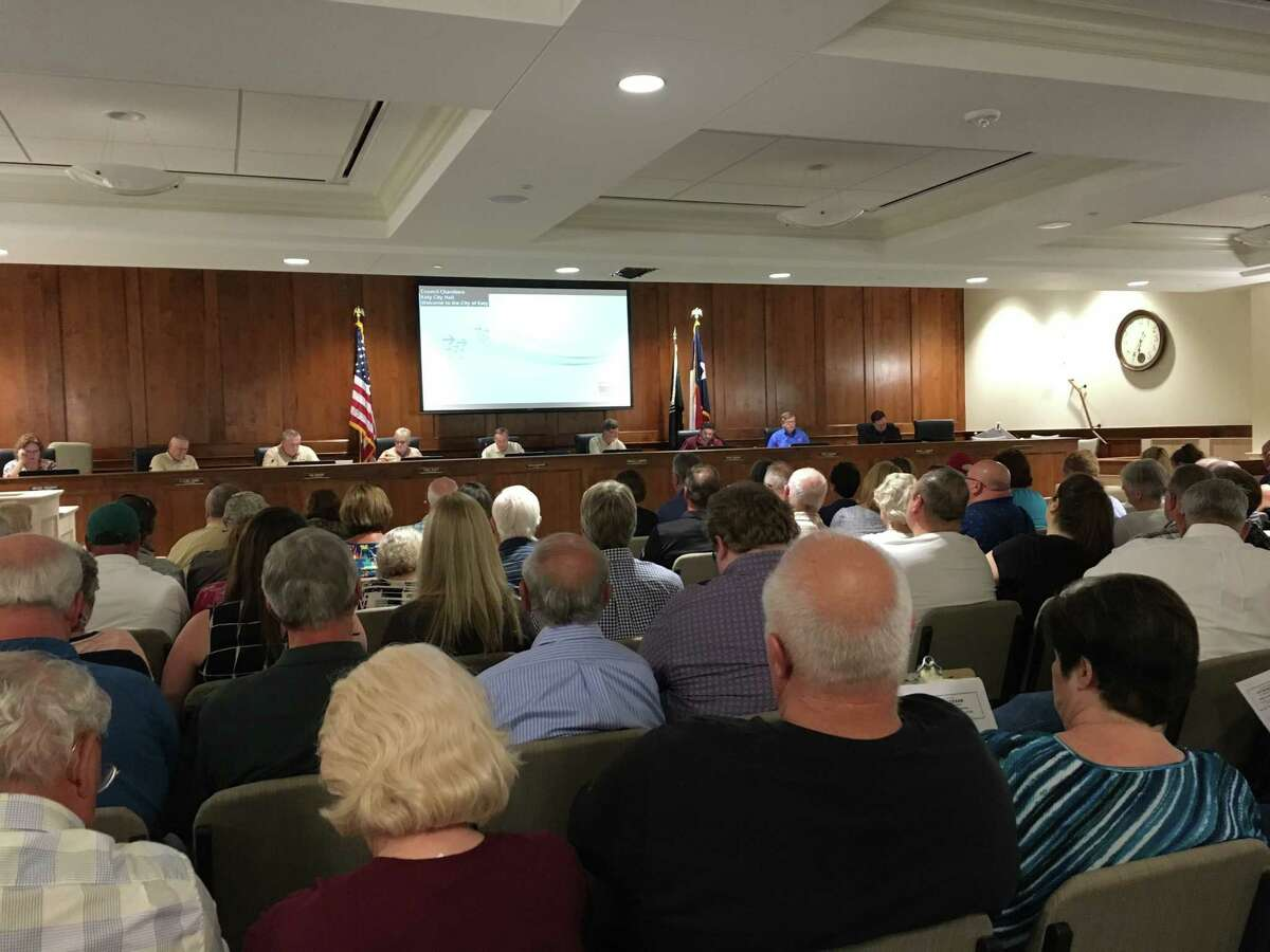 More than 100 people attended the Oct. 23 Katy City Council meeting where representatives of Costello, an engineering firm, discussed their flood protection study.