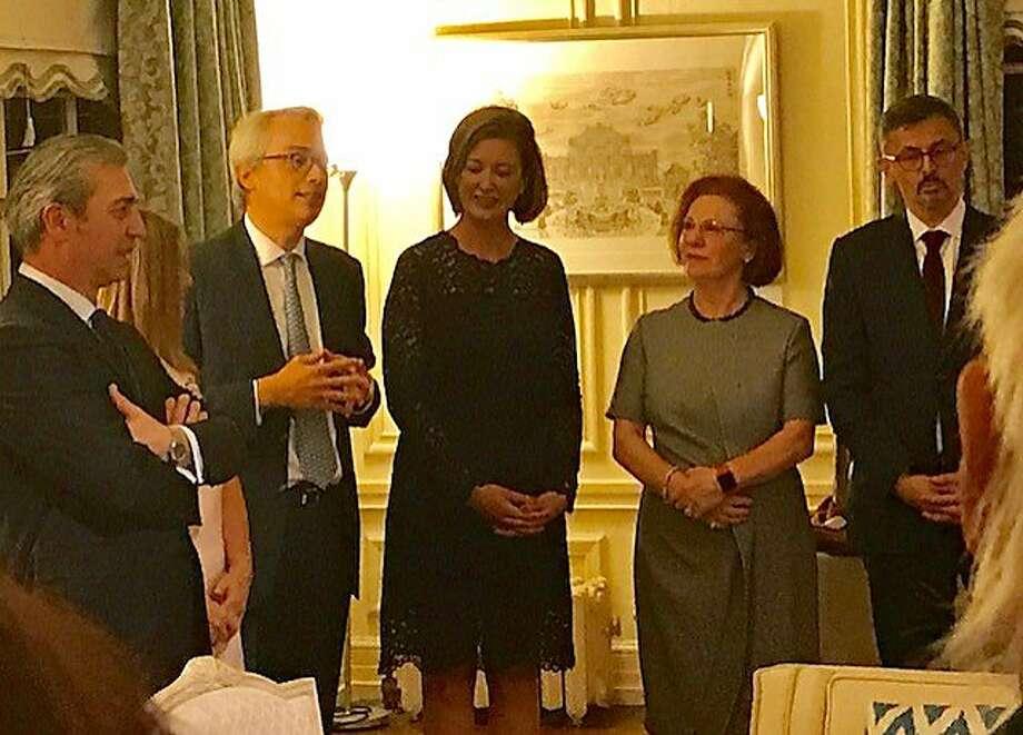 Nicola Luisotti (left), Lorenzo Ortona, Sheila Ortona, Romana Bracco and Paolo Barlera. Photo: Leah Garchik, San Francisco Chronicle
