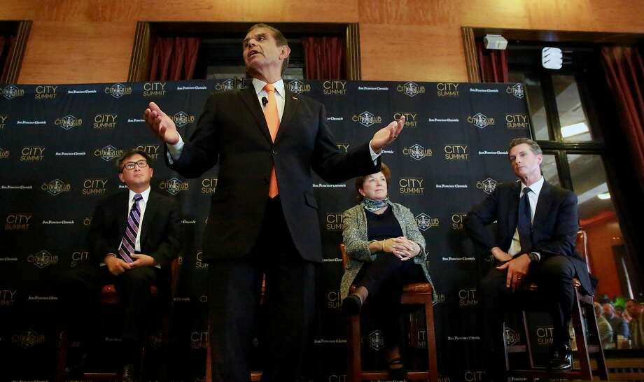 The Chronicle and the City Club of San Francisco host a City Summit forum for California Democratic gubernatorial candidates in San Francisco on Tuesday Oct. 24, 2017. From left are: John Chiang, California state treasurer; Antonio Villaraigosa, former mayor of Los Angeles; Delaine Eastin, former California Superintendent of Public Instruction, and Lt. Gov. Gavin Newsom. Photo: Michael Macor, The Chronicle