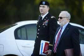 Sgt. Bowe Bergdahl's military attorney, Lt. Col. Franklin Rosenblatt, and his civilian attorney, Eugene Fidell, arrive at the Fort Bragg courthouse for a sentencing hearing on Wednesday, Oct. 25, 2017, on Fort Bragg, N.C. Bergdahl, who walked off his base in Afghanistan in 2009 and was held by the Taliban for five years, pleaded guilty to desertion and misbehavior before the enemy.   (Andrew Craft/The Fayetteville Observer via AP)