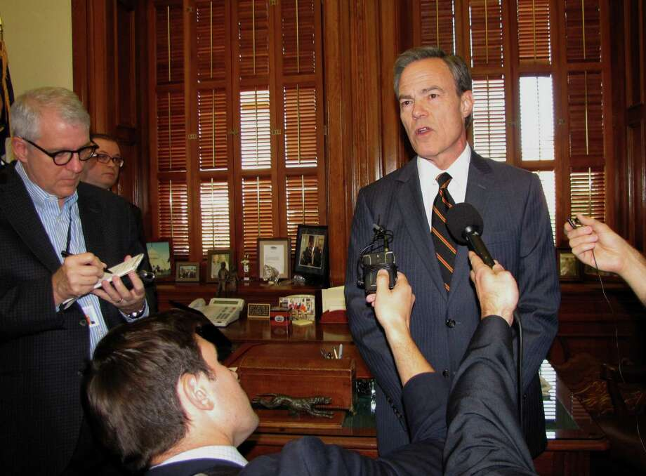 House speaker Joe Straus, talking with reporters in his office at the State Capitol, made a surprise announcement Wednesday morning that he's not coming back to the Texas House and does not plan to seek re-election to his current position. Photo: Peggy Fikac/Staff