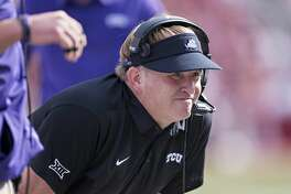 FAYETTEVILLE, AR - SEPTEMBER 9:  Head Coach Gary Patterson of the TCU Horned Frogs on the sidelines during a game against the Arkansas Razorbacks at Donald W. Reynolds Razorback Stadium on September 9, 2017 in Fayetteville, Arkansas.  The Horn Frogs defeated the Razorbacks 28-7.  (Photo by Wesley Hitt/Getty Images)