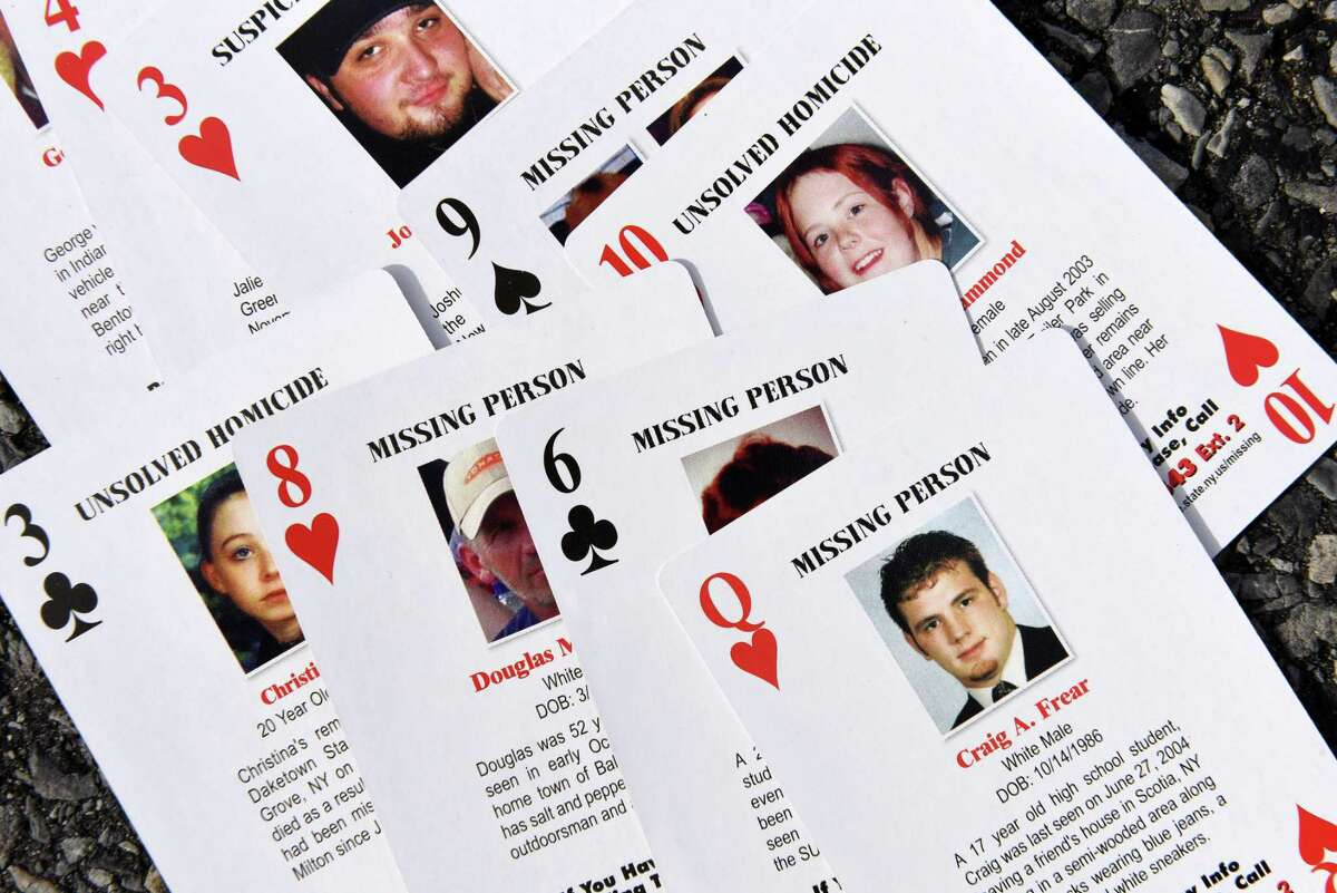 The Center for Hope's set of playing cards chronicles 52 missing persons and unsolved homicide cases in New York state. (Will Waldron/Times Union)