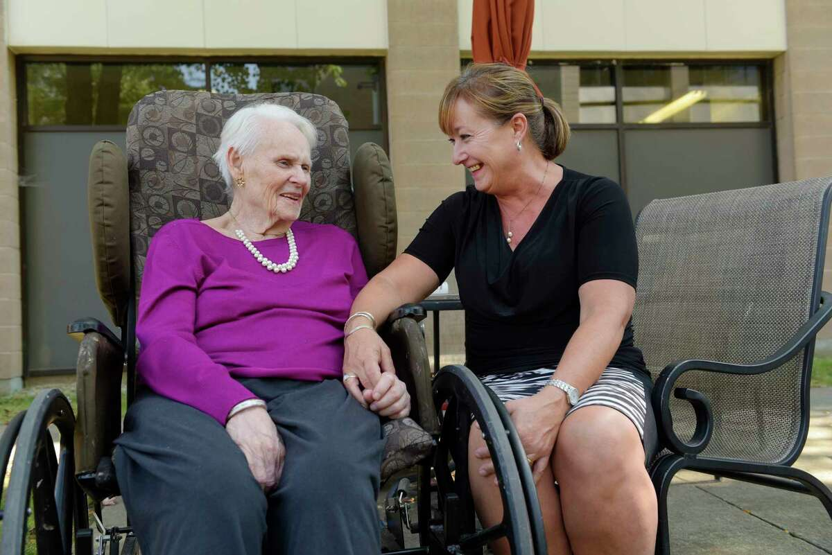 Tami Cohan spends some time with her 88-year-old mom, Shirley Tetreault, at the Wesley Health Care Center on Tuesday, Sept. 12, 2017, in Saratoga Springs, N.Y. (Paul Buckowski / Times Union)