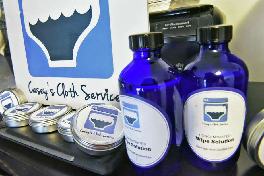 Cloth diaper safe bottom balm and wipe solution at Casey Yeager's Casey's Cloth Service in her home work space Thursday Sept. 21, 2017 in Glens Falls, NY.  (John Carl D'Annibale / Times Union) Photo: John Carl D'Annibale / 20041588A