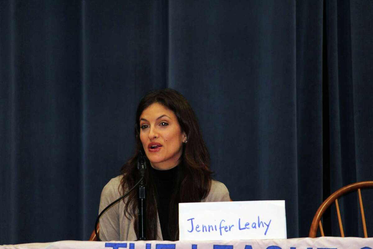 Democratic candidate for Planning and Zoning Department Jennifer Leahy at the League of Women Voters Debate at Town Hall on Oct. 25, 2017. The other candidates were not present.
