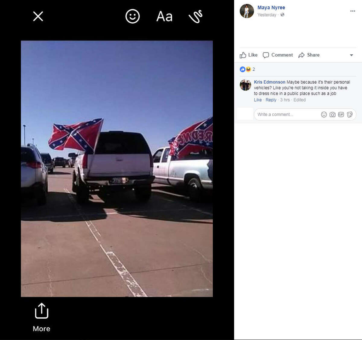 Confederate flags spotted at Paris High School in late October 2017 have stirred controversy on social media.Image source: Facebook