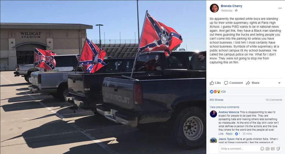 Confederate flags spotted at Paris High School in Texas in late October 2017 have stirred controversy online.Image source: FacebookSee Confederate statues and monuments in Texas that have been removed in 2017 in the gallery ahead. Photo: Facebook