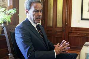House Speaker Joe Straus talks in his office at the State Capitol on October 25, 2017.