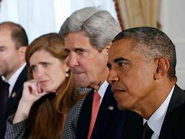 """From right"""" President Barack Obama, Secretary of State John Kerry and United States Ambassador to the United Nations Samantha Power in Greg Barker's documentary """"The Final Year."""""""