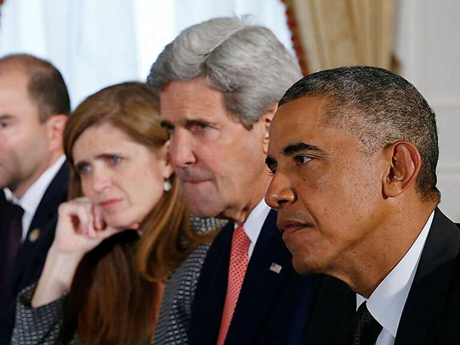 """From right"""" President Barack Obama, Secretary of State John Kerry and United States Ambassador to the United Nations Samantha Power in Greg Barker's documentary """"The Final Year."""" Photo: SF Film"""