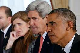 "From right"" President Barack Obama, Secretary of State John Kerry and United States Ambassador to the United Nations Samantha Power in Greg Barker's documentary ""The Final Year."""