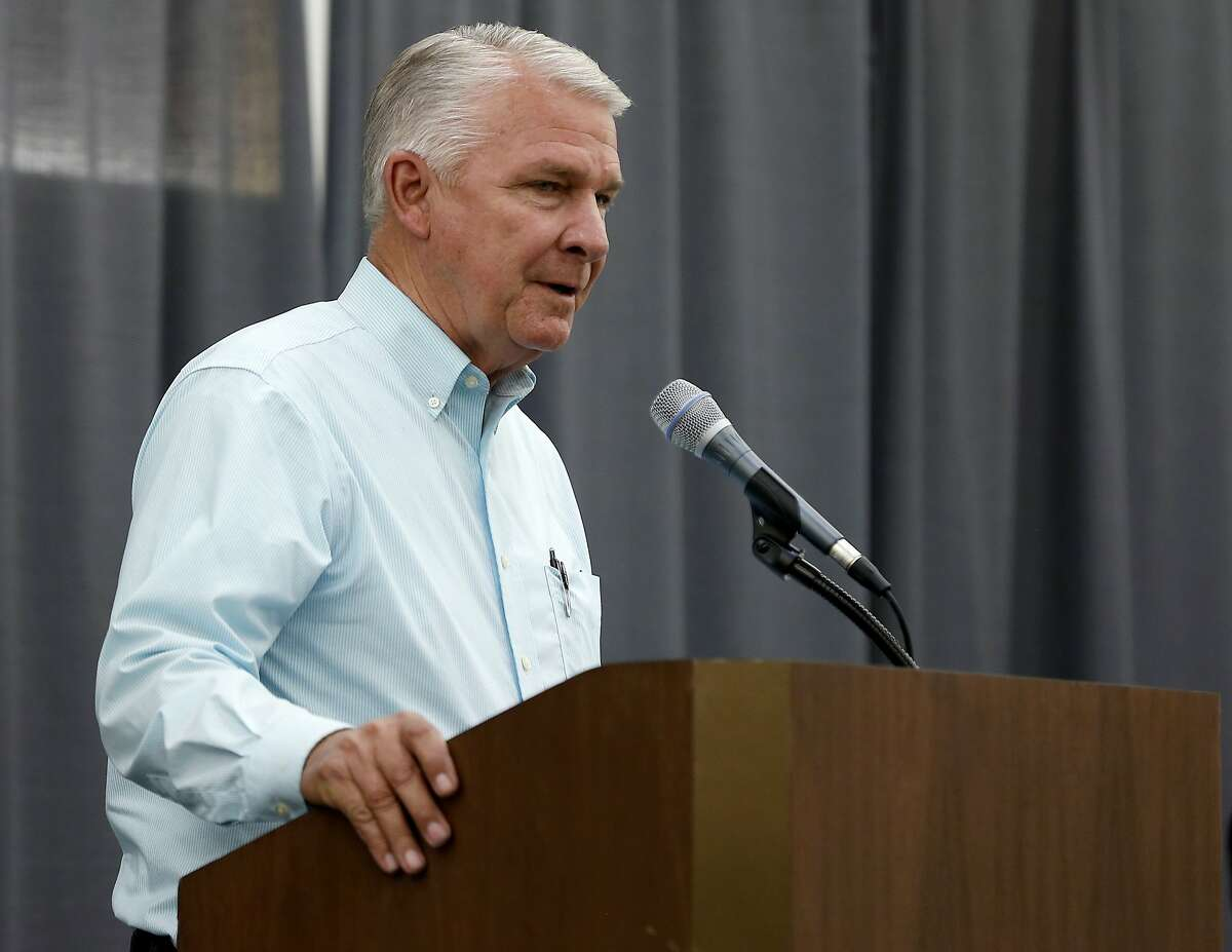 Former FEMA director James Lee Witt speaks at a meeting on rebuilding the community after the North Bay firestorms at Sonoma State University in Rohnert Park, Calif. on Wednesday Oct. 25, 2017.