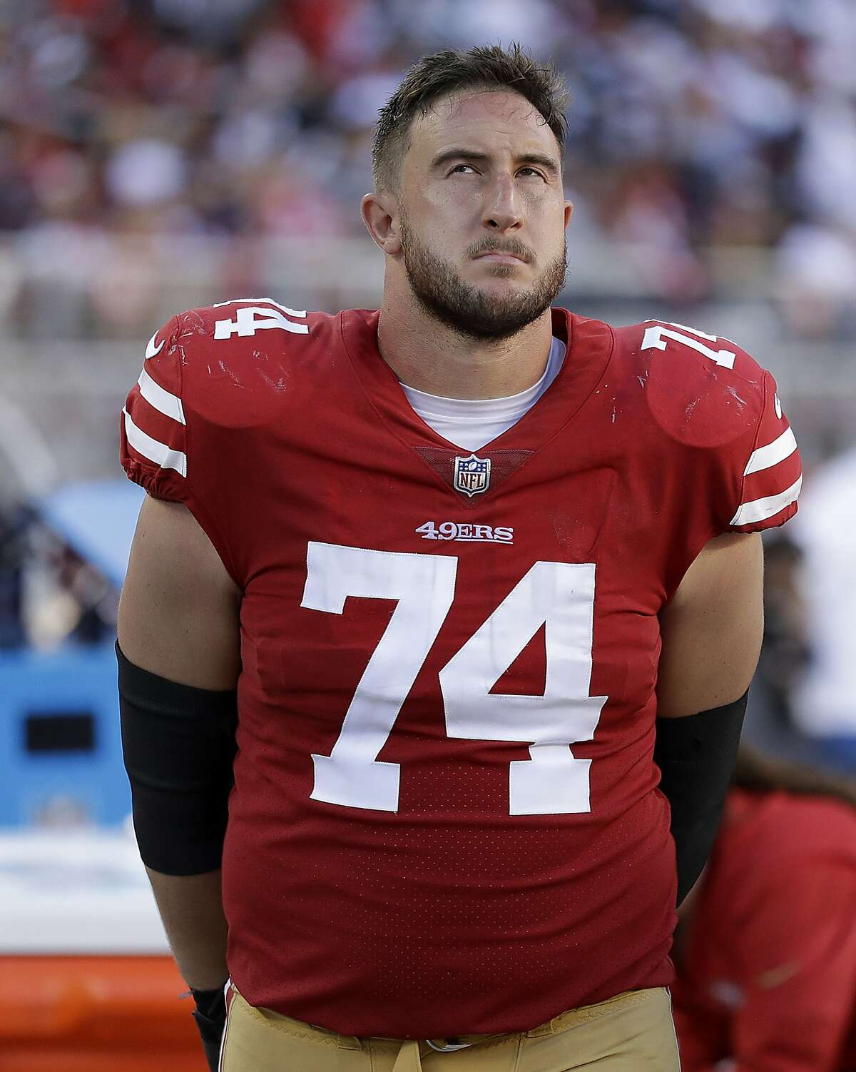 San Francisco 49ers offensive tackle Joe Staley (74) stands on the sideline against the Dallas Cowboys during the second half of an NFL football game in Santa Clara, Calif., Sunday, Oct. 22, 2017. (AP Photo/Marcio Jose Sanchez)