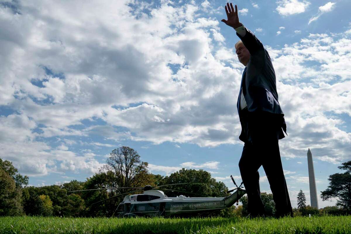 President Donald Trump walks towards Marine One on the South Lawn of the White House in Washington, Wednesday, Oct. 25, 2017, for a short trip to Andrews Air Force Base, Md. and then on to Dallas. (AP Photo/Andrew Harnik)