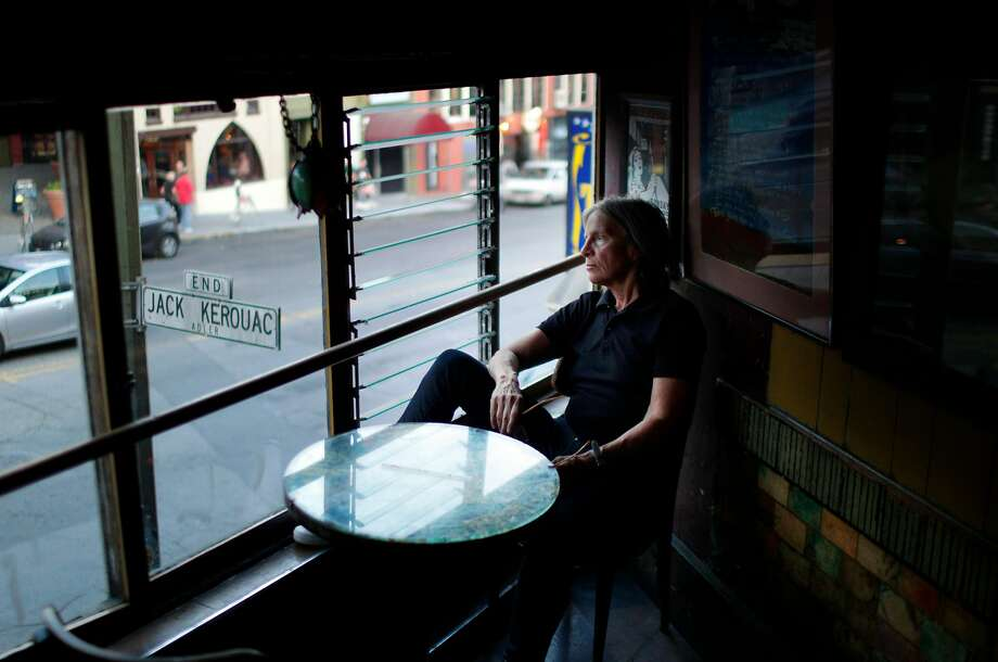 Poet and author Eileen Myles visits Vesuvio Cafe before a reading at City Lights Books in S.F. Photo: Carlos Avila Gonzalez, The Chronicle