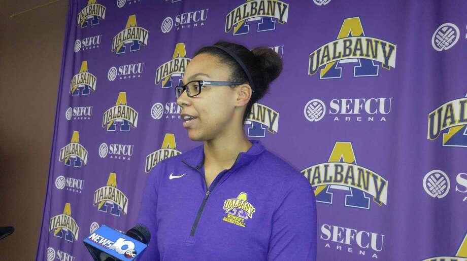 University at Albany women's basketball player Tiara Jo-Carter, taken at media day Wednesday, Oct. 25, 2017. (Pete Dougherty / Times Union)