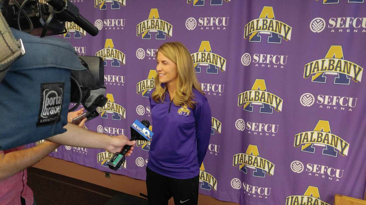 University at Albany women's basketball coach Joanna Bernabei-McNamee, taken at media day Wednesday, Oct. 25, 2017. (Pete Dougherty / Times Union)