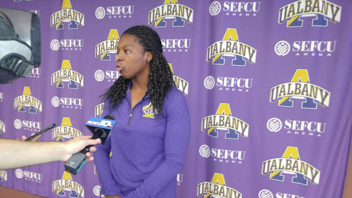University at Albany women's basketball player Jessica Fequiere, taken at media day Wednesday, Oct. 25, 2017. (Pete Dougherty / Times Union)