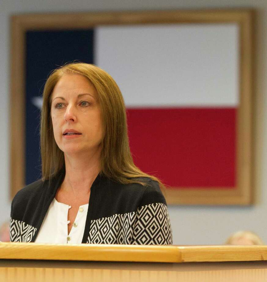 Elections Administrator Suzie Harvey presented a voting precinct change to commissioners Tuesday and said the Lone Star College Kingwood campus sustained damage during the Aug. 25 storm. Photo: Jason Fochtman, Staff Photographer / © 2017 Houston Chronicle