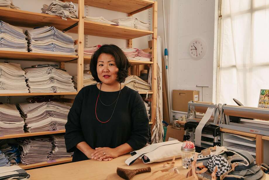 Shujan Bertrand in her studio in the Bayview district. Since founding Aplat in 2014, her line of novel, hand-made-in-San Francisco totes have become the darling of discriminating shoppers. Photo: Peter Prato, Special To The Chronicle