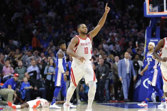 Houston Rockets' Eric Gordon (10) celebrates after making a three point basket in the second half of an NBA basketball game against the Philadelphia 76ers, Wednesday, Oct. 25, 2017, in Philadelphia. The Rockets won 105-104. (AP Photo/Michael Perez)