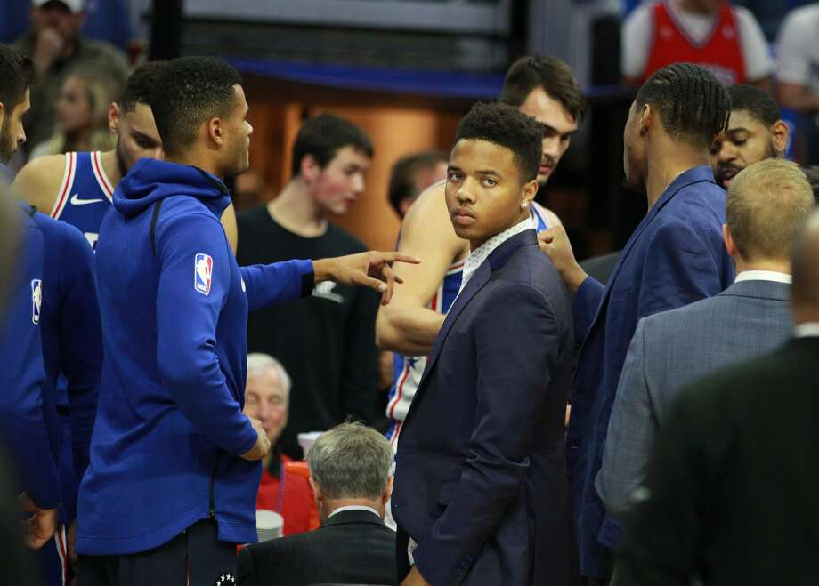 The Philadelphia 76ers' Markelle Fultz, middle, did not dress for the game against the Houston Rockets at the Wells Fargo Center in Philadelphia on Wednesday, Oct. 25, 2017. (Charles Fox/Philadelphia Inquirer/TNS) Photo: CHARLES FOX/TNS
