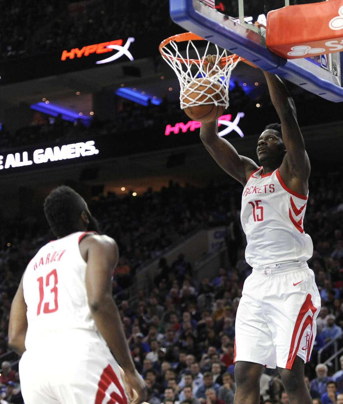 Houston Rockets' Clint Capela (15) dunks the ball in the first half of an NBA basketball game against the Philadelphia 76ers, Wednesday, Oct. 25, 2017, in Philadelphia. (AP Photo/Michael Perez)