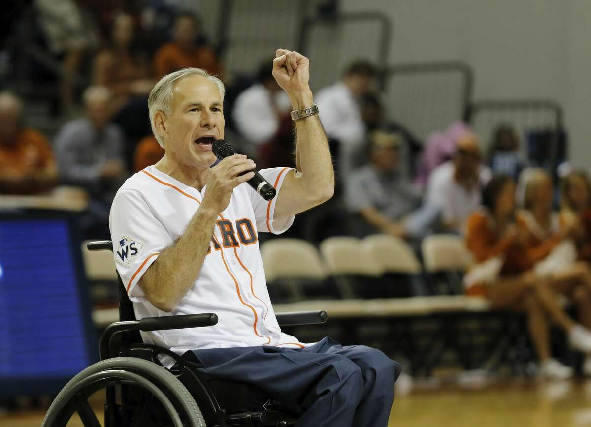 Texas Governor Greg Abbott speaks to the crowd at halftime during the exhibition basketball game between the Texas Longhorns and the Texas A&M Aggies to benefit the Rebuild Texas Relief Fund at Tudor Fieldhouse in Houston, TX on Wednesday, October 25, 2017.