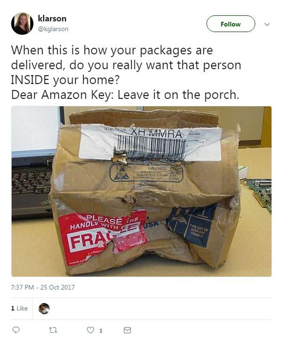 @kglarson When this is how your packages are delivered, do you really want that person INSIDE your home? Dear Amazon Key: Leave it on the porch.