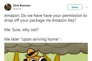 @icplusb   Amazon: Do we have have your permission to drop off your package via Amazon Key?  Me: Sure, why not?  Me later *upon arriving home* :