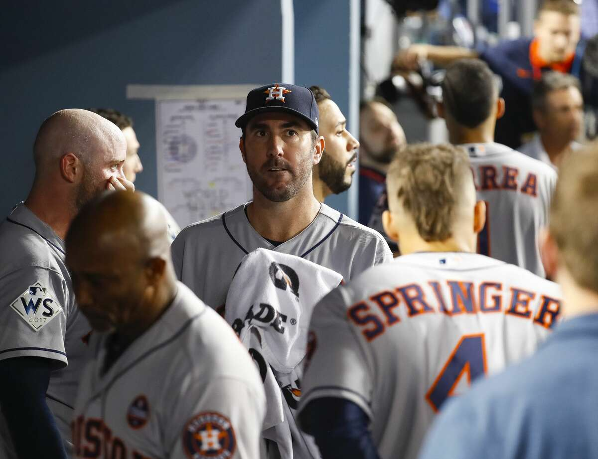 Houston Astros starting pitcher Justin Verlander (35) comes back to the dugout after the sixth inning of Game 2 of the World Series at Dodger Stadium on Wednesday, Oct. 25, 2017, in Los Angeles.