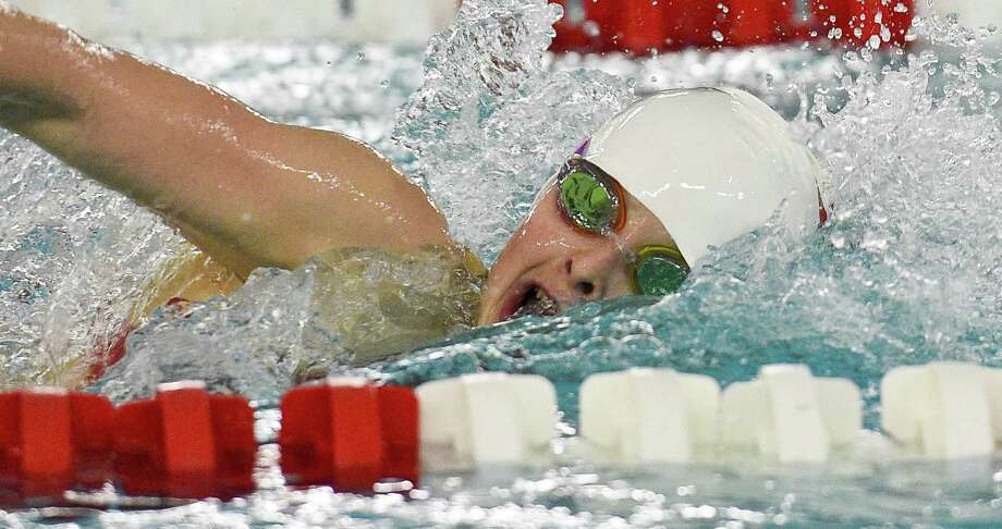 Greenwich's Meghan Lynch competes in the 200-yard freestyle in the Cardinals 102-75 victory over Westhill/Stamford on Wednesday in Greenwich. Photo: Matthew Brown / Hearst Connecticut Media / Stamford Advocate