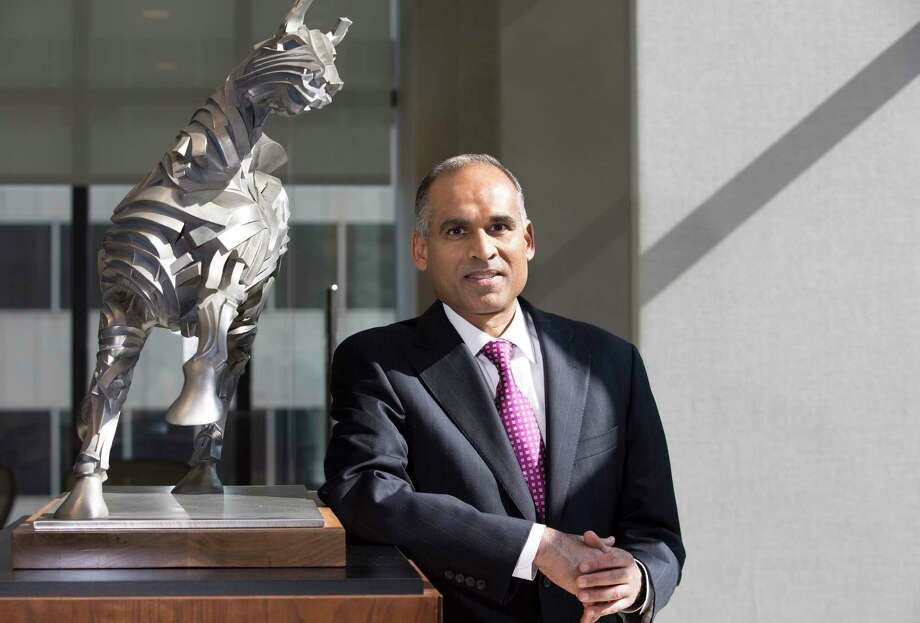 LyondellBasell Industries CEO Bob Patel poses for a portrait at the LyondellBasell lobby on Wednesday, Oct. 18, 2017, in Houston. Patel talked about growth, rebranding and the 10-year anniversary of the formation of the company when Lyondell and Basell merged into what is now a $40 billion company. Photo: Yi-Chin Lee, Houston Chronicle / © 2017  Houston Chronicle