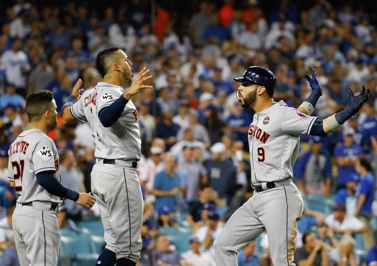 PHOTOS: A look at Marwin Gonzalez's home run and celebration Houston Astros second baseman Jose Altuve (27) and short stop Carlos Correa greet left fielder Marwin Gonzalez (9) at home after Gonzalez hit a home run in the ninth inning of Game 2 of the World Series at Dodger Stadium on Wednesday, Oct. 25, 2017, in Los Angeles. Browse through the photos above for a look at Marwin Gonzalez's home run and celebration.