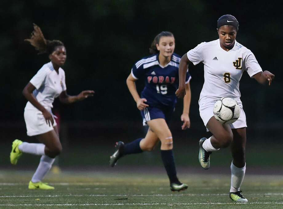 Law battled Foran to a 2-2 tie in a crosstown matchup, Wednesday, Oct. 25, 2017, at Lawmen Stadium at Jonathan Law High School in Milford. Photo: Catherine Avalone, Hearst Connecticut Media / New Haven Register