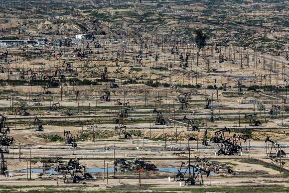 An oil field is seen on Wednesday, March 15, 2017, in Bakersfield, Calif.