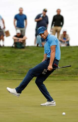 d2be0ceb856a Golden State Warriors star Stephen Curry just misses his birdie putt on the  eighth hole during