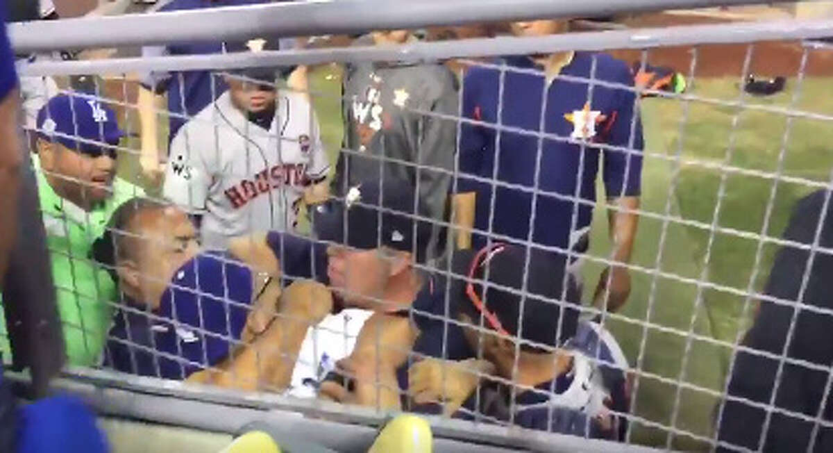 A fan jumped into the Astros' bullpen in the 10th inning of Game 3 of the Astros-Dodgers World Series.