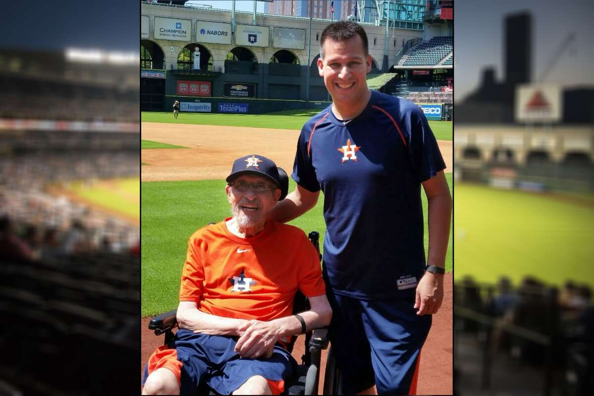 Sam Sanchez, left, regularly attends Astros games with his son, Gerald, but missed out on the playoffs because the duo were unable to switch their seats to an accessible spot. Paying a transfer price, Gerald was able to switch his seats for games three and five of the World Series.